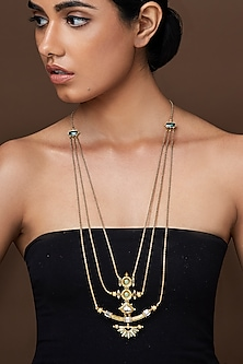 Oxidised Gold Plated Trident Necklace With Swarovski Crystals by Amrapali X Confluence