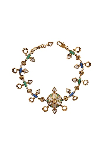 Oxidised Gold Plated Luxe Bracelet With Swarovski Crystals by Amrapali X Confluence