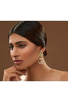 Oxidised Gold Plated Amor Earrings With Swarovski Crystals by Amrapali X Confluence