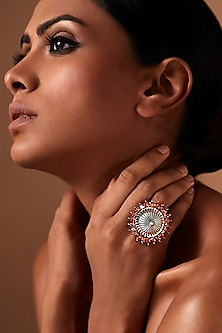 Oxidised Silver Plated Circular Ring With Swarovski Crystals by Amrapali X Confluence
