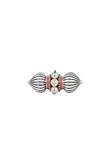 Oxidised Silver Plated Dome Ring With Swarovski Crystals by Amrapali X Confluence