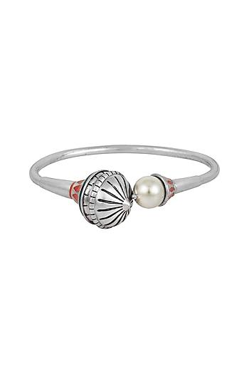 Oxidised Silver Plated Bracelet With Swarovski Crystals by Amrapali X Confluence