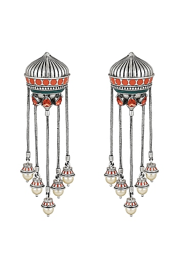 Oxidised Silver Plated Dangling Earrings With Swarovski Crystals by Amrapali X Confluence