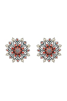 Oxidised Silver Plated Stud Earrings With Swarovski Crystals by Amrapali X Confluence