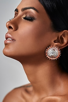 Oxidised Silver Plated Circular Earrings With Swarovski Crystals by Amrapali X Confluence