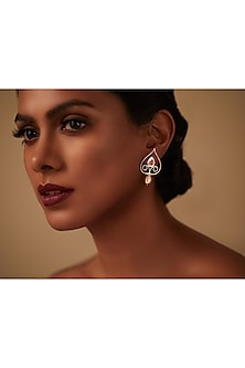 Oxidised Silver Plated Petite Earrings With Swarovski Crystals by Amrapali X Confluence