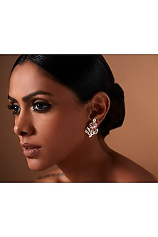 Oxidised Silver Plated Floral Earrings With Swarovski Crystals by Amrapali X Confluence