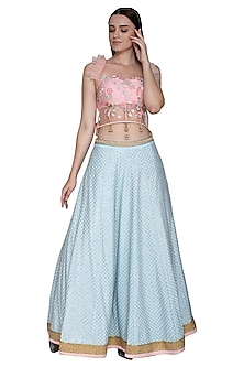 Peach Embroidered Top With Powder Blue Lehenga Skirt by Amit Sachdeva