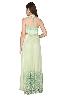 Mint Embroidered Sheer Gown by Amit Sachdeva