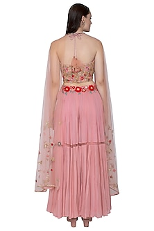 Blush Pink Embroidered Crop Top With Skirt, Attached Drape & Belt by Amit Sachdeva