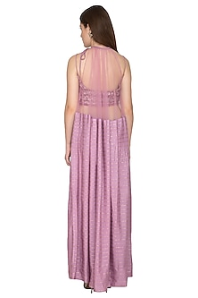 Lilac Embroidered Bustier With Cape Dress & Pants by Amit Sachdeva