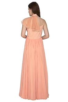 Peach Embroidered Pleated Gown by Amit Sachdeva