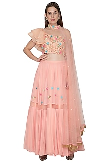 Peach Embroidered Crop Top With Pleated Skirt by Amit Sachdeva