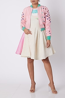 Pink Floral Bomber Jacket by Amit Sachdeva