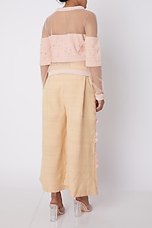 Pink Embellished Crop Top With Beige Pants by Amit Sachdeva