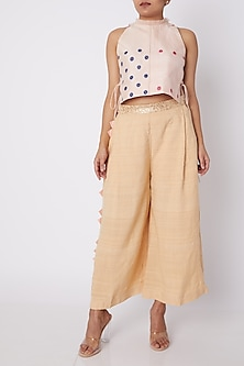 Pink Floral Crop Top With Drawstrings by Amit Sachdeva