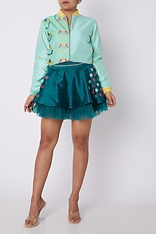 Teal Green Mini Skirt With Ruffles by Amit Sachdeva