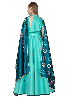 Sea Green Printed Handwoven Anarkali With Teal Blue Dupatta by Amit Sachdeva
