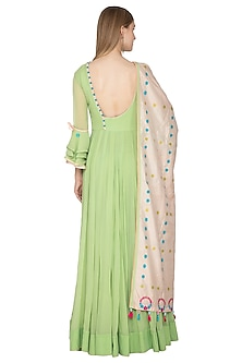 Green Handloom Anarkali With Dupatta by Amit Sachdeva