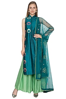 Teal Blue & Green Embroidered Kurta Set by Amit Sachdeva