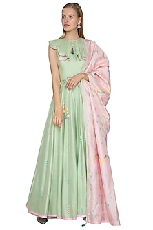 Green Anarkali With Pink Handloom Dupatta by Amit Sachdeva