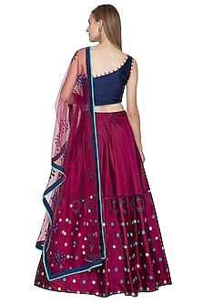 Wine & Blue Printed And Embroidered Lehenga Set by Amit Sachdeva