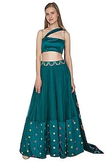 Teal Blue Handloom Draped Lehenga Set by Amit Sachdeva