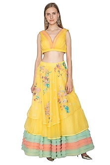 Yellow Printed Layered Skirt With Crop Top by Amit Sachdeva