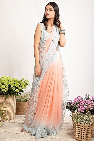 Pale Blue & Peach Embroidered Saree Set by Amrita Thakur
