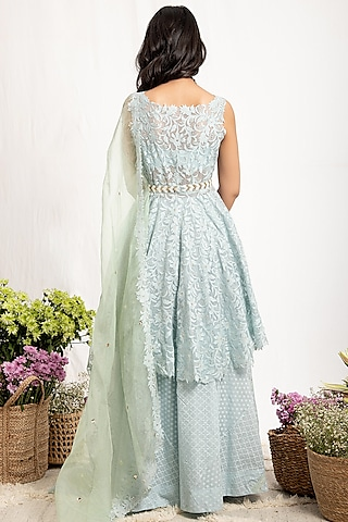 Mint Green Embroidered Sharara Set With Belt by Amrita Thakur