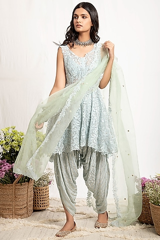 Mint Green Embroidered Anarkali Set With Belt by Amrita Thakur