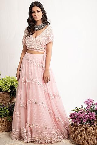 Rose Pink Embroidered Lehenga Set by Amrita Thakur