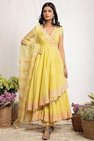 Pale Yellow Embroidered Anarkali Set by Amrita Thakur