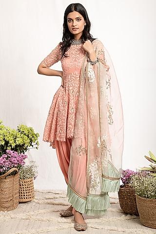 Peach Embroidered Anarkali Set by Amrita Thakur