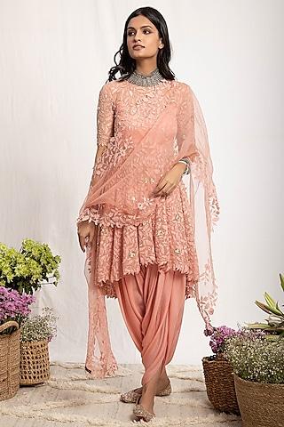 Peach Embroidered Chiffon Anarkali Set by Amrita Thakur