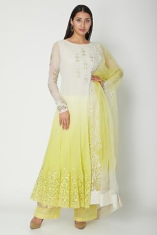 White To Yellow Ombre Embroidered Anarkali Set by Amrita Thakur