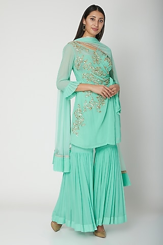 Blue Embroidered Gharara Set by Amrita Thakur