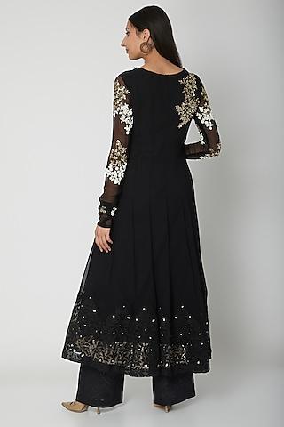 Black Embroidered Anarkali Set by Amrita Thakur