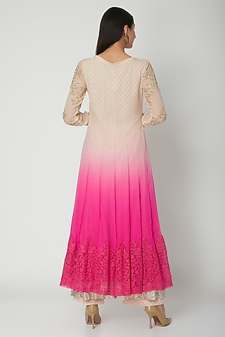 White To Pink Ombre Embroidered Anarkali Set by Amrita Thakur