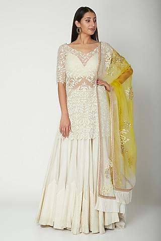 White Embroidered Sharara Set by Amrita Thakur