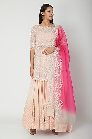 Blush Pink Embroidered Sharara Set by Amrita Thakur
