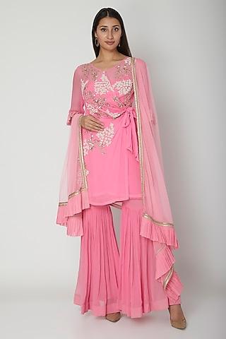 Pink Embroidered Kurta Set by Amrita Thakur