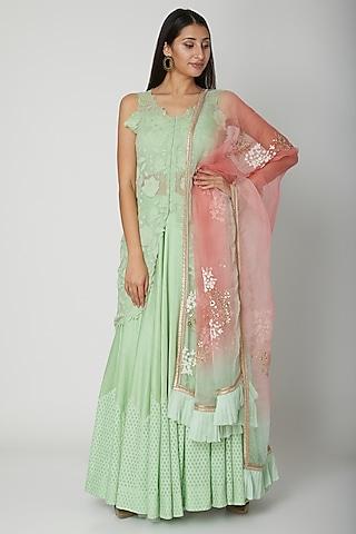 Mint Green Embroidered Sharara Set by Amrita Thakur