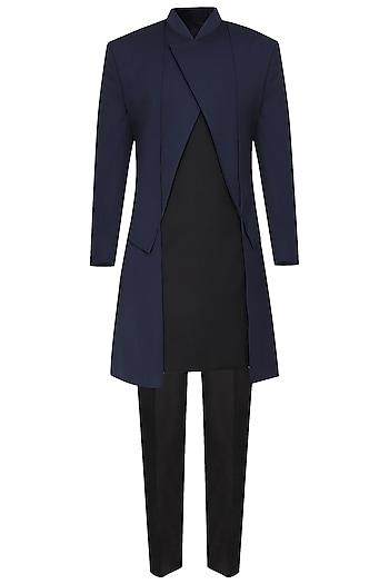 Navy Blue Asymmetrical Long Jacket by Amaare