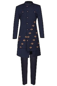 Navy Blue Pintucks Embroidered Long Jacket by Amaare