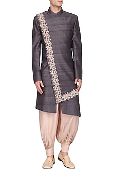Grey Embroidered Long Jacket by Amaare