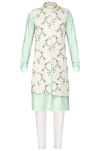 Off White Embroidered Nehru Jacket with Kurta by Amaare