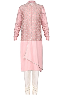 Pink Embroidered Nehru Jacket with Kurta by Amaare