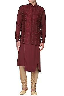 Red Embroidered Nehru Jacket with Kurta by Amaare