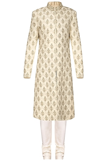 Off White Dabka Embroidered Sherwani by Amaare
